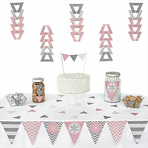 Pink Winter Wonderland -  Triangle Holiday Snowflake Birthday Party and Baby Shower Decoration Kit - 72 Piece