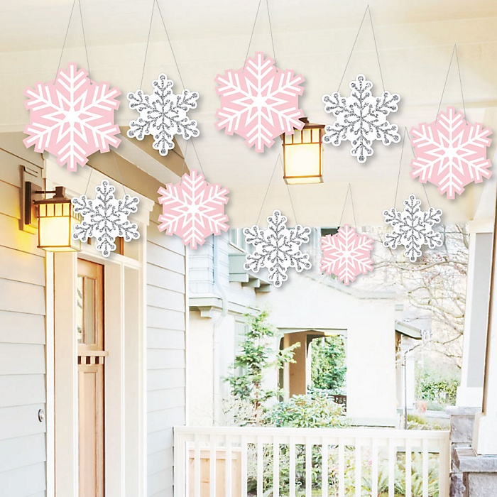 Hanging Pink Winter Wonderland - Outdoor Holiday Snowflake Birthday Party and Baby Shower Hanging Porch & Tree Yard Decorations - 10 Pieces