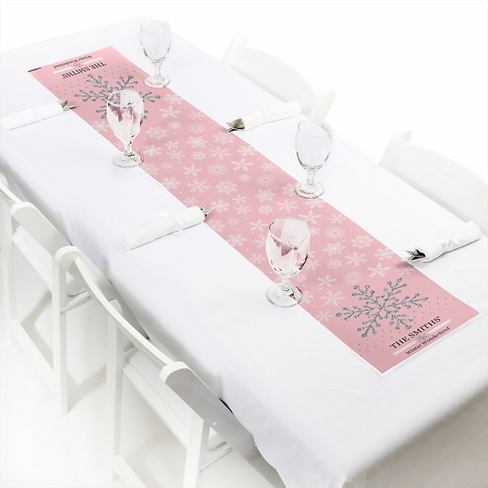 """Pink Winter Wonderland - Personalized Petite Holiday Snowflake Birthday Party and Baby Shower Table Runner - 12"""" x 60"""""""