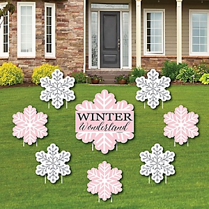 Pink Winter Wonderland - Yard Sign & Outdoor Lawn Decorations - Holiday Snowflake Birthday Party and Baby Shower Yard Signs - Set of 8