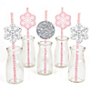 Pink Winter Wonderland - Paper Straw Decor - Holiday Snowflake Birthday Party and Baby Shower Party Striped Decorative Straws - Set of 24