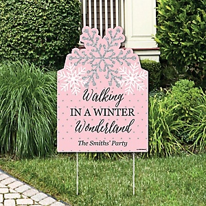 Pink Winter Wonderland - Party Decorations - Holiday Snowflake Birthday Party and Baby Shower Personalized Welcome Yard Sign