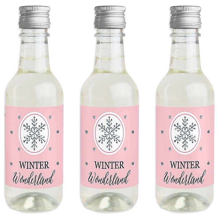 Pink Winter Wonderland - Mini Wine and Champagne Bottle Label Stickers - Holiday Snowflake Birthday Party and Baby Shower Party Favor Gift - For Women and Men - Set of 16