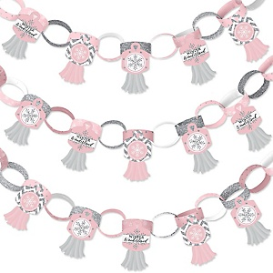 Pink Winter Wonderland - 90 Chain Links and 30 Paper Tassels Decoration Kit - Holiday Snowflake Birthday Party and Baby Shower Paper Chains Garland - 21 feet
