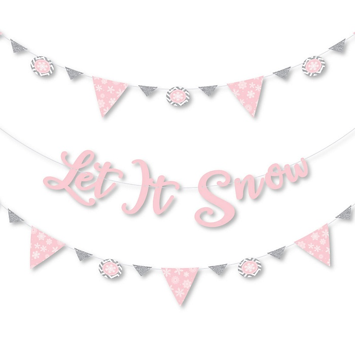 Pink Winter Wonderland - Holiday Snowflake Birthday Party and Baby Shower Letter Banner Decoration - 36 Banner Cutouts and Let It Snow Banner Letters
