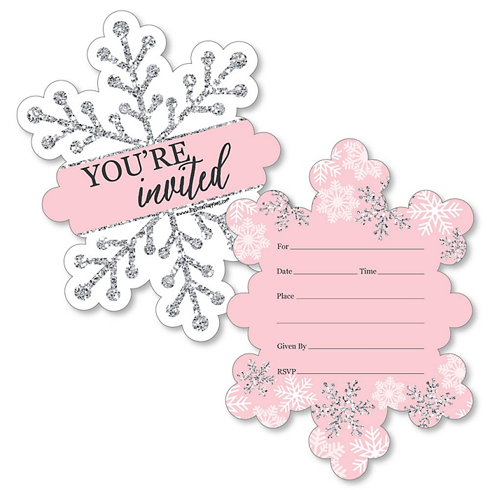 Pink Winter Wonderland - Shaped Fill-In Invitations - Holiday Snowflake Birthday Party and Baby Shower Invitation Cards with Envelopes - Set of 12