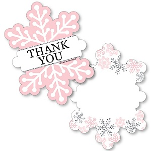 Pink Winter Wonderland - Shaped Thank You Cards - Holiday Snowflake Birthday Party and Baby Shower Thank You Note Cards with Envelopes - Set of 12