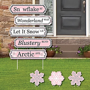 Pink Winter Wonderland Street Sign Cutouts - Holiday Snowflake Birthday Party Yard Signs and Decorations - Set of 8