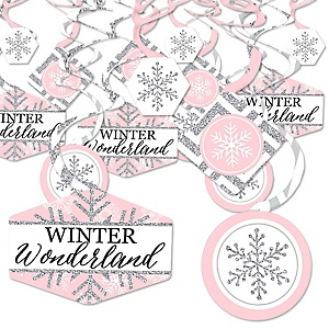 Pink Winter Wonderland - Holiday Snowflake Birthday Party and Baby Shower Hanging Decor - Party Decoration Swirls - Set of 40
