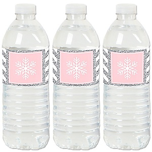 Pink Winter Wonderland - Holiday Snowflake Birthday Party and Baby Shower Water Bottle Sticker Labels - Set of 20