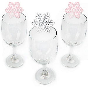Pink Winter Wonderland - Shaped Holiday Snowflake Birthday Party and Baby Shower Wine Glass Markers - Set of 24