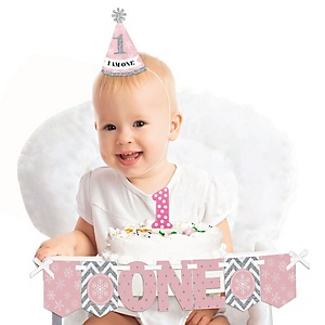 Pink ONEderland 1st Birthday - First Birthday Girl Smash Cake Decorating Kit - Winter Wonderland High Chair Decorations
