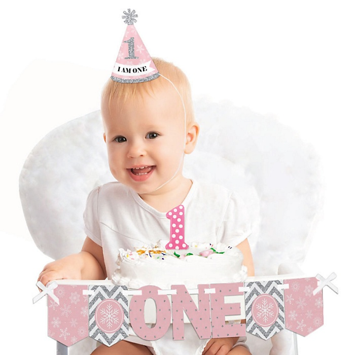 Pink ONEderland 1st Birthday - First Birthday Girl Smash Cake Decorating Kit - Winter Wonderland High Chair Decorations