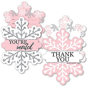 Pink Winter Wonderland - 20 Shaped Fill-In Invitations and 20 Shaped Thank You Cards Kit - Holiday Snowflake Birthday Party and Baby Shower Stationery Kit - 40 Pack