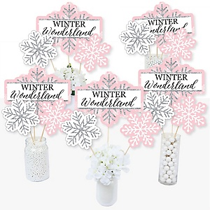 Pink Winter Wonderland - Holiday Snowflake Birthday Party and Baby Shower Party Centerpiece Sticks - Table Toppers - Set of 15