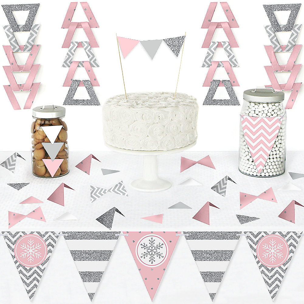 Pink Winter Wonderland Diy Pennant Banner Decorations Holiday Snowflake Birthday Party And Baby Shower Triangle Kit 99 Pieces