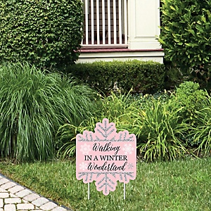 Pink Winter Wonderland - Outdoor Lawn Sign - Holiday Snowflake Birthday Party and Baby Shower Yard Sign - 1 Piece