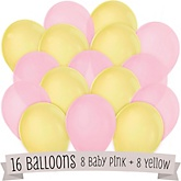 Pink and Yellow - Baby Shower Latex Balloons - 16 ct