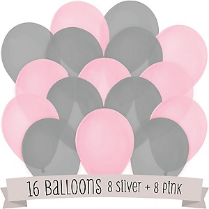 Pink and Gray - Party Latex Balloons - 16 ct