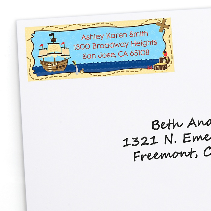 It's A-Boy Mates! Pirate - Personalized Baby Shower Return Address Labels - 30 ct
