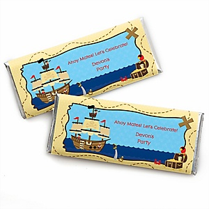 Ahoy Mates! Pirate - Personalized Candy Bar Wrapper Baby Shower or Birthday Party Favors - Set of 24