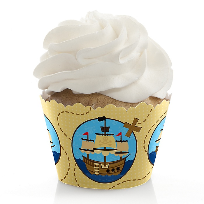 It's A-Boy Mates! Pirate - Baby Shower Decorations - Party Cupcake Wrappers - Set of 12