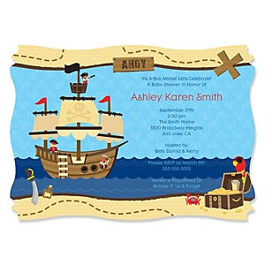 It's A-Boy Mates! Pirate - Personalized Baby Shower Invitations - Set of 12