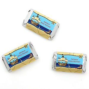 It's A-Boy Mates! Pirate - Personalized Baby Shower Mini Candy Bar Wrapper Favors - 20 ct
