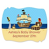 It's A-Boy Mates! Pirate - Personalized Baby Shower Squiggle Stickers - 16 ct