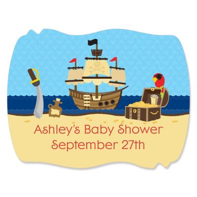 Pirate   Personalized Baby Shower Squiggle Stickers   16 Ct