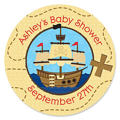 Its A Boy Mates Pirate Personalized Baby Shower Sticker Labels