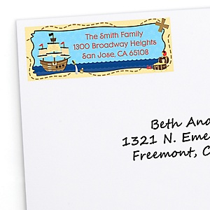 Ahoy Mates! Pirate - Personalized Birthday Party Return Address Labels - 30 ct