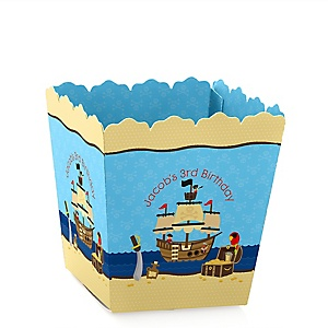 Ahoy Mates! Pirate - Party Mini Favor Boxes - Personalized Birthday Party Treat Candy Boxes - Set of 12