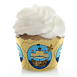 Ahoy Mates! Pirate - Birthday Decorations - Party Cupcake Wrappers - Set of 12