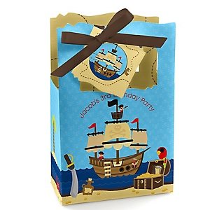Ahoy Mates! Pirate - Personalized Birthday Party Favor Boxes - Set of 12