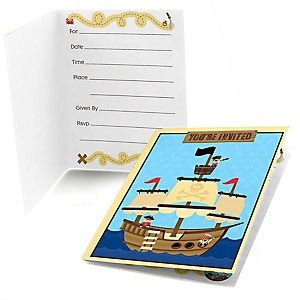 Ahoy Mates! Pirate - Birthday Party Fill In Invitations - 8 ct