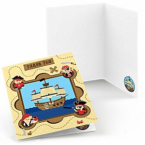 Ahoy Mates! Pirate - Birthday Party Thank You Cards - 8 ct