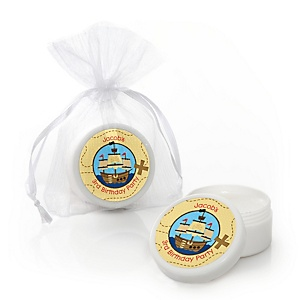 Ahoy Mates! Pirate - Personalized Birthday Party Lip Balm Favors - Set of 12