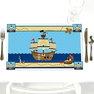 Ahoy Mates! Pirate - Party Table Decorations - Party Placemats - Set of 12