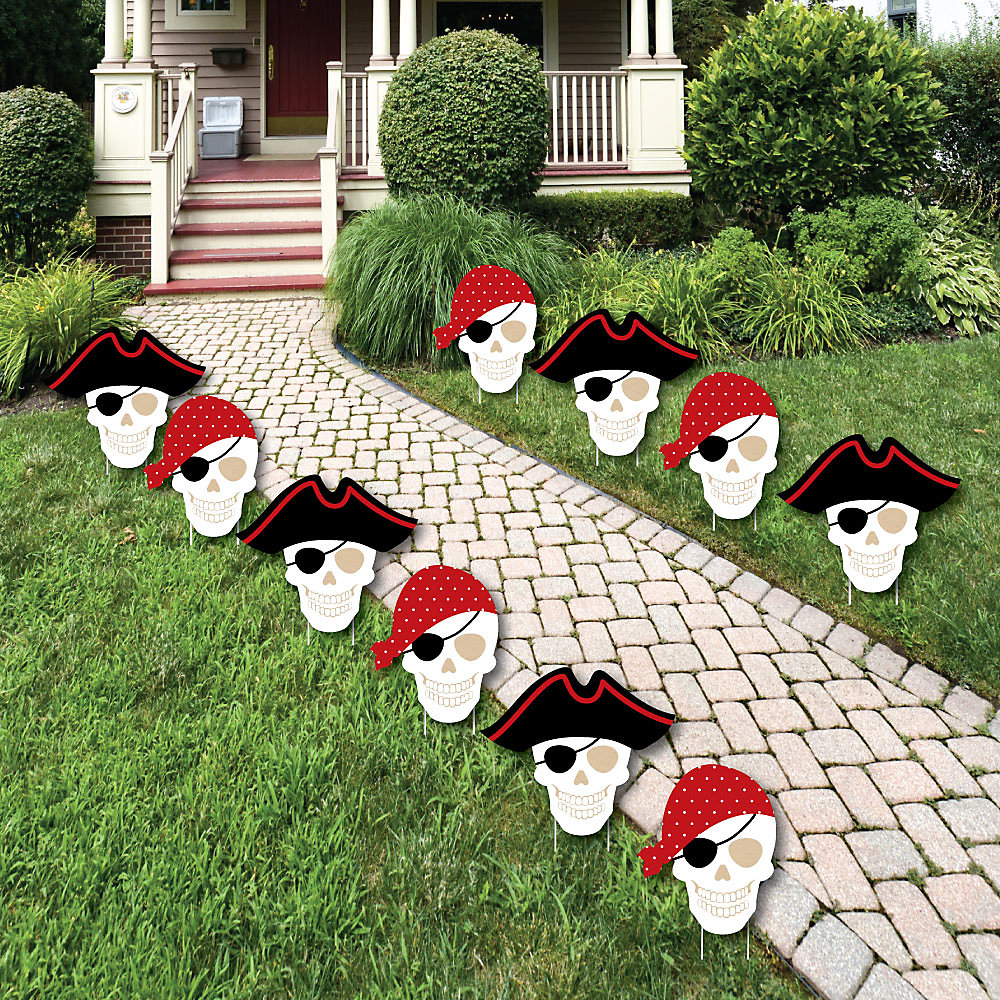 Beware Of Pirates Pirate Skulls Lawn Decorations Outdoor Pirate Birthday Party Yard Decorations 10 Piece