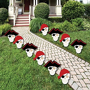 Beware of Pirates - Pirate Skulls Lawn Decorations - Outdoor Pirate Birthday Party Yard Decorations - 10 Piece