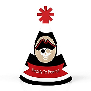 Beware of Pirates - Personalized Mini Cone Pirate Birthday Party Hats - Small Little Party Hats - Set of 10