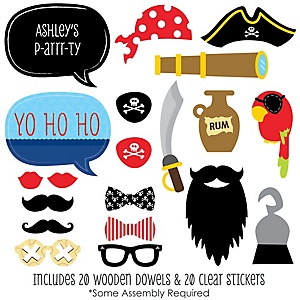 Ahoy Mates! Pirate - 20 Piece Photo Booth Props Kit