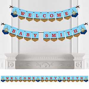 It's A-Boy Mates! Pirate - Personalized Baby Shower Bunting Banner & Decorations