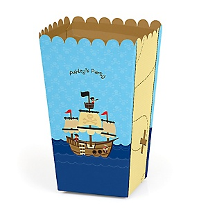 Ahoy Mates! Pirate - Personalized Party Popcorn Favor Treat Boxes - Set of 12