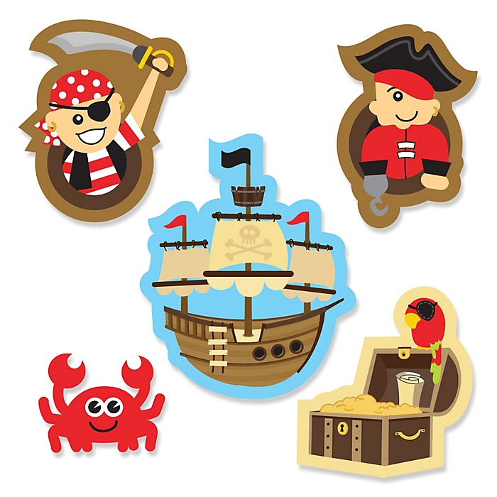 It's A-Boy Mates! - Pirate - DIY Shaped Party Paper Cut-Outs - 24 ct