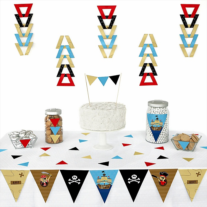 Ahoy Mates! Pirate -  Triangle Party Decoration Kit - 72 Piece