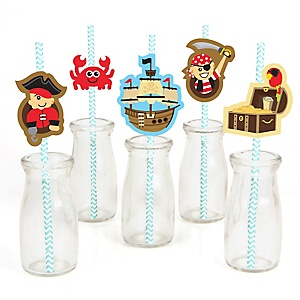 Ahoy Mates! Pirate - Paper Straw Decor - Baby Shower or Birthday Party Striped Decorative Straws - Set of 24