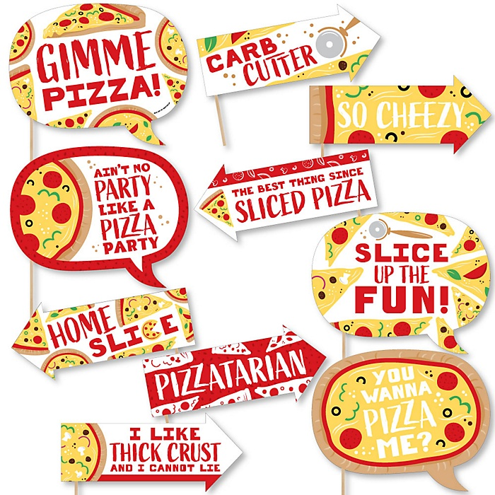 Funny Pizza Party Time - 10 Piece Baby Shower or Birthday Party Photo Booth Props Kit