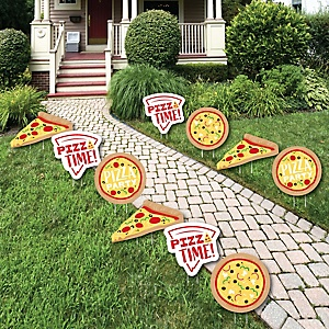 Pizza Party Time - Lawn Decorations - Outdoor Baby Shower or Birthday Party Yard Decorations - 10 Piece